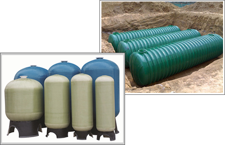 There are two kinds of FRP products: seven FRP tanks standing on the ground and three green FRP septic tanks in a trench.